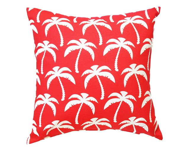 White Palm Tree on Red Cushion. Outdoor cushions