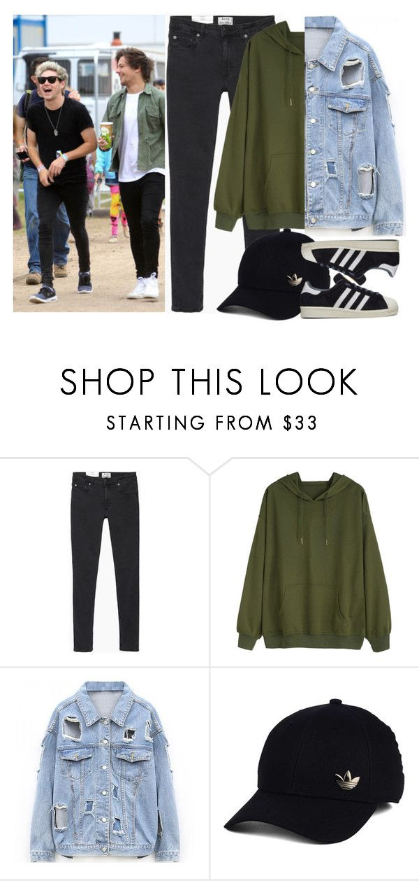 """""""Music festival with Niall and Louis (as Niall's girlfriend)"""" by ilaria-1999 ❤ liked on Polyvore featuring Acne Studios and adidas"""