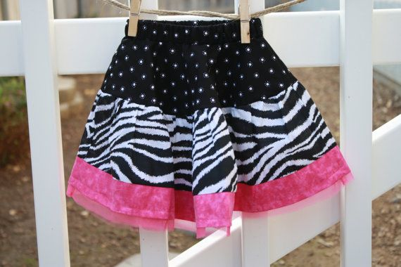 Twirl Skirt in Zebra and Pink by SweetnChicBoutiques on Etsy, $16.00