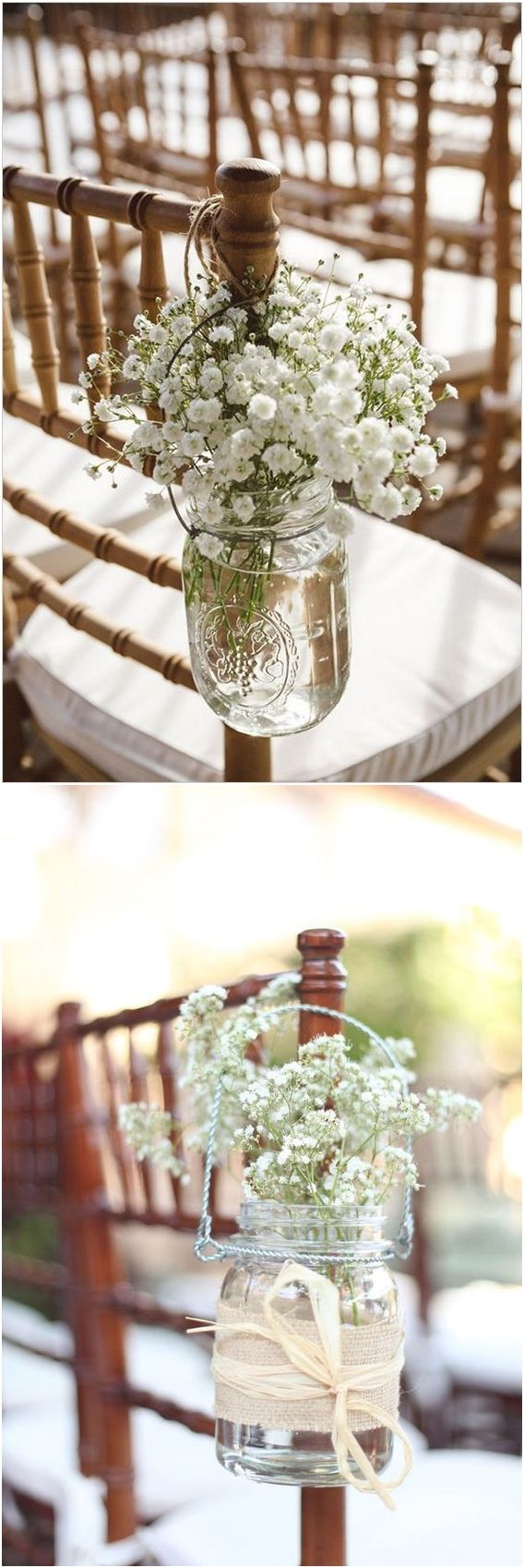 Rustic mason jar wedding chair decor ideas #weddings #rusticwedding #weddingideas