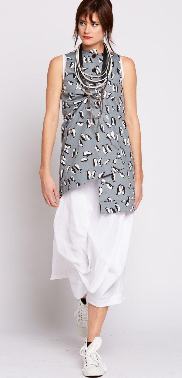 Nicola Waite  Resort SS2016 Penguin Print Back Button Tunic $295.00 AUD N1591.3113