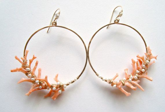 Coral Branch Earrings Peach Coral Hoops Pearl от BellaAnelaJewelry, $189.00