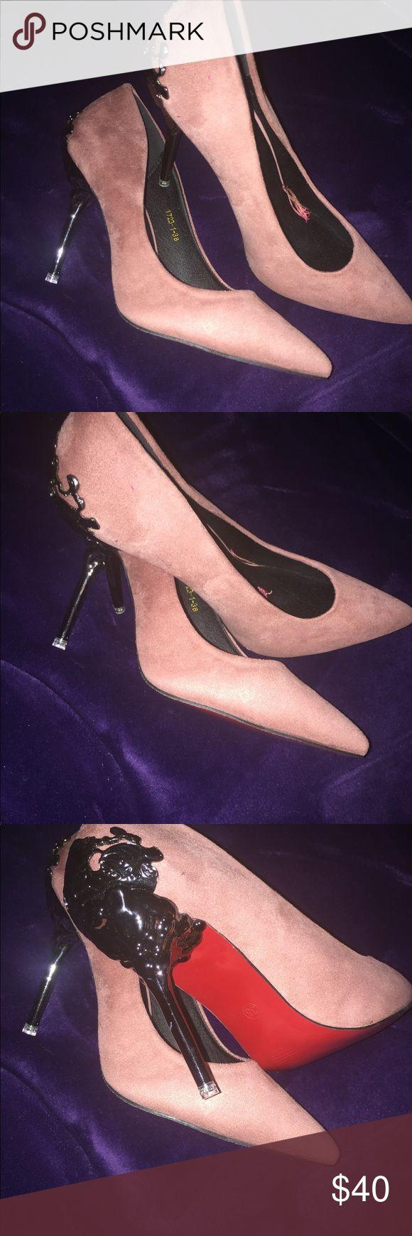 Gorg! Blush Pink Suede Heels NWOT Boutique Gorg! Blush Pink Suede Heels. Beautiful Red Painted Soles. Ornate detail on heels. Shoes Heels
