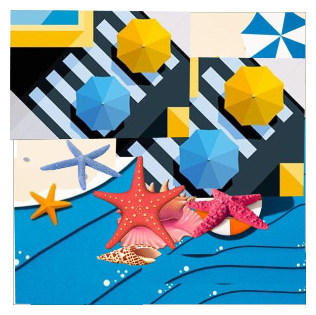Beach Umbrellas by evachasioti on Polyvore featuring art, Summer, beach, sea and artexpression