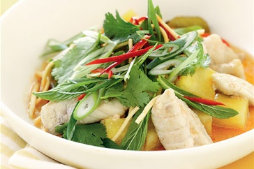 The new recipe we tried on Friday which Michael chose: poached fish in coconut with pineapple.