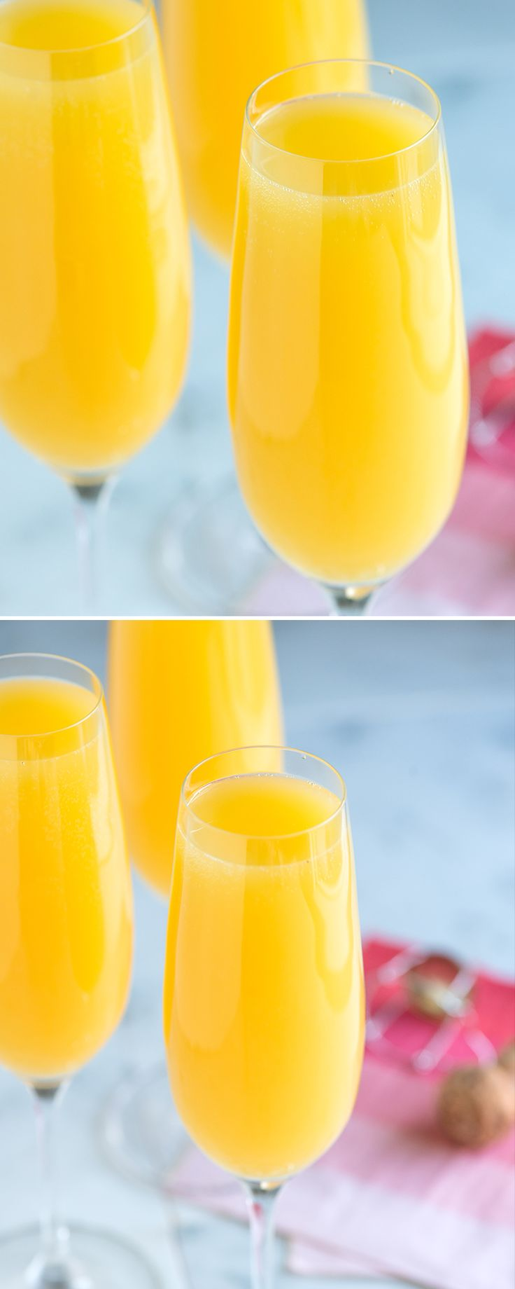 What's better to serve at brunch than a fabulous mimosa recipe made with dry sparking wine and orange juice? It's simple, fun and perfect to serve company. We share our recipe and video with tips for how to make the absolute best mimosa at home. From inspiredtaste.net @inspiredtaste