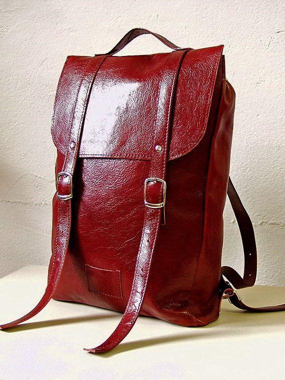 Wine/cherry colored middle size leather backpack rucksack / genuine leather minimalist backpackrucksackkokosinasimple backpackknapsackback to school leather rucksack women woman girls gift