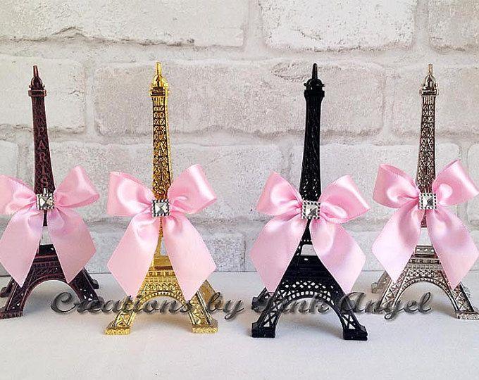 """6"""" Topper de la torta de la Torre Eiffel, oro y rosa Tour Eiffel, París de la torta, negro Tour Eiffel, París Baby Shower, 1 Torre incluido"""