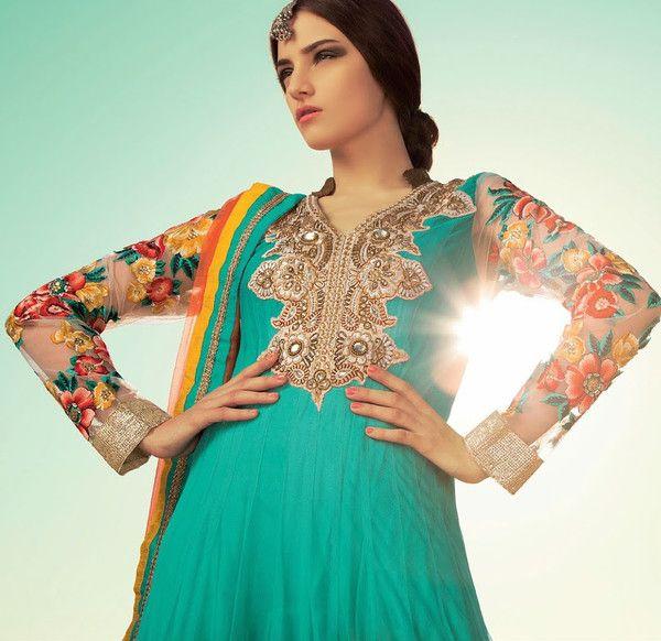 Orange and Blue Net Anarkali Suit