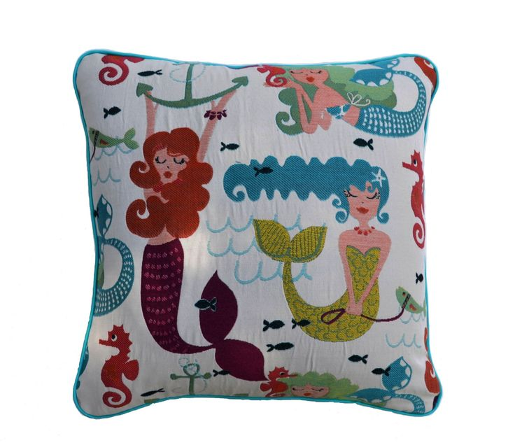 Mermaids . Cushion with Mermaids . Embroidered Cushion . Jacquard . Feature Pillow . Feature Cushion . Cushion Cover . by JulieAlvesDesigns on Etsy