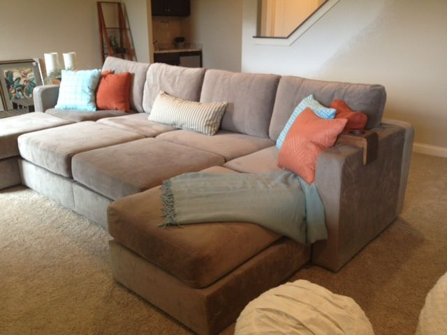 """Another sactional set-up in Taupe Rhino Padded Velvet for the """"Parade of Homes"""" in WI #Lovesac"""