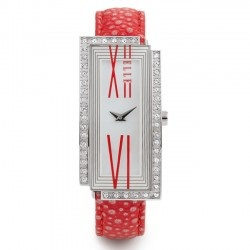 If red is too bold for you, we also have it in black! This very colorful and artistic ELLE watch for women is a best seller, because women like the artistic exhuberance it demonstrates. The rectangular stainless steel case with white dial, bounded by beautiful Swarovski Crystals makes this a beautiful fashion piece. You will have fun with this watch and receive many compliments. The watch is about 1 inch in width.