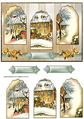 Vintage Christmas panel card on Craftsuprint designed by Angela Wake - Vintage Christmas panel card front with panel toppers and sentiment tags - Now available for download!