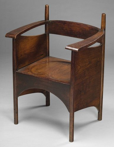 A Scottish Art Nouveau oak chair by Charles Rennie Mackintosh. It will be offered for sale by Mayfair-based dealers H. Blairman & Co. Ltd. at the first Art Antiques London fair in Kensington Gardens.