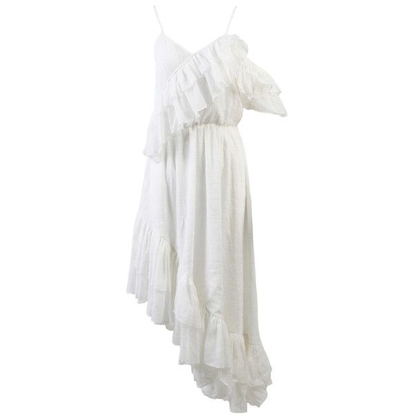 Anouki Chiffon Asymmetric Dress ($840) ❤ liked on Polyvore featuring dresses, white, flounce dress, flouncy dress, frilly dresses, white flounce dress and white dress