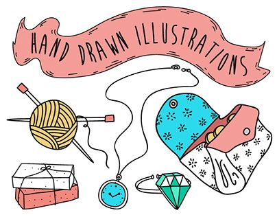 Hand-drawn illustrations for hobium.com