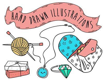 Hand-drawn illustrations for hobium.com