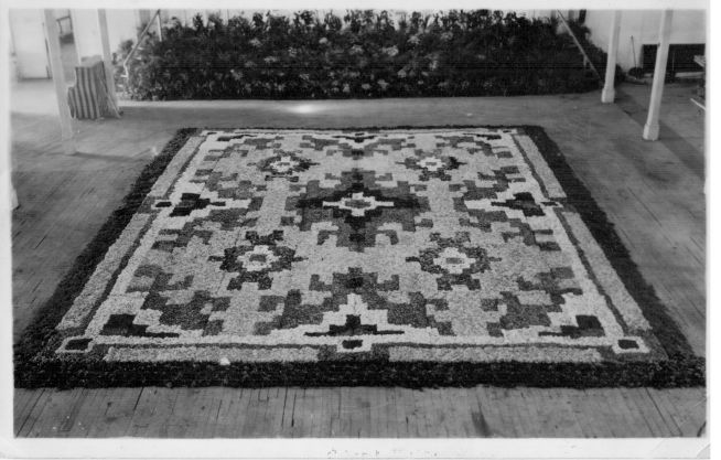 Floral Carpet on display in March 1951, in the Alfred Hall, Ballarat, for the 1951 Ballarat Gold Centenary Celebrations.