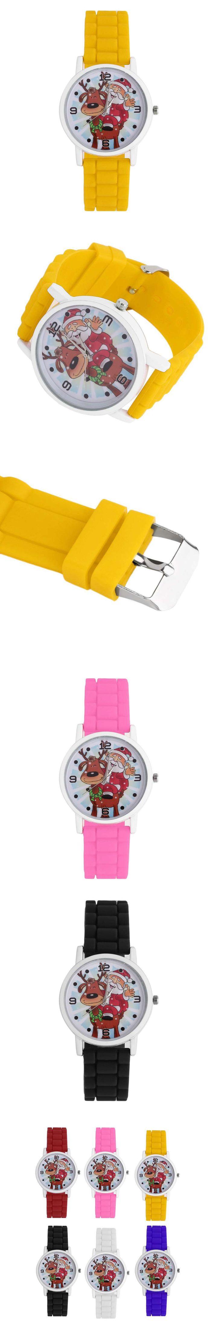 Festival Christmas Children Watch Kids Cute Deer Silicone Band Strap Quartz WristWatch Boys Girls Great Gift Watch Size 2 $2.48