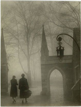 Students walking outside Goodhart Hall :: Bryn Mawr College Photo Archives