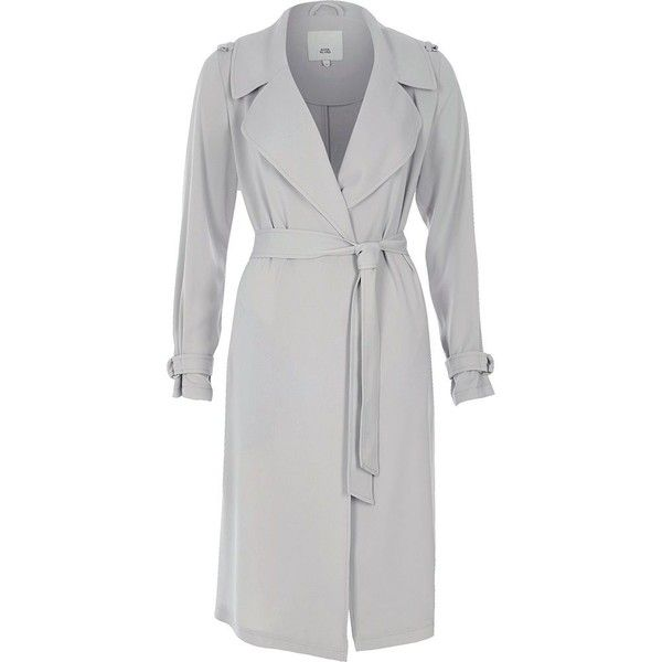 River Island Petite light grey belted duster trench coat ($130) ❤ liked on Polyvore featuring outerwear, coats, long sleeve coat, tall coats, river island coats, belted coats and petite trench coat