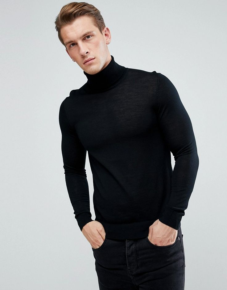 HUGO BY HUGO BOSS SAN ANTONIO SLIM FIT MERINO WOOL ROLL NECK SWEATER IN BLACK - BLACK. #hugo #cloth #