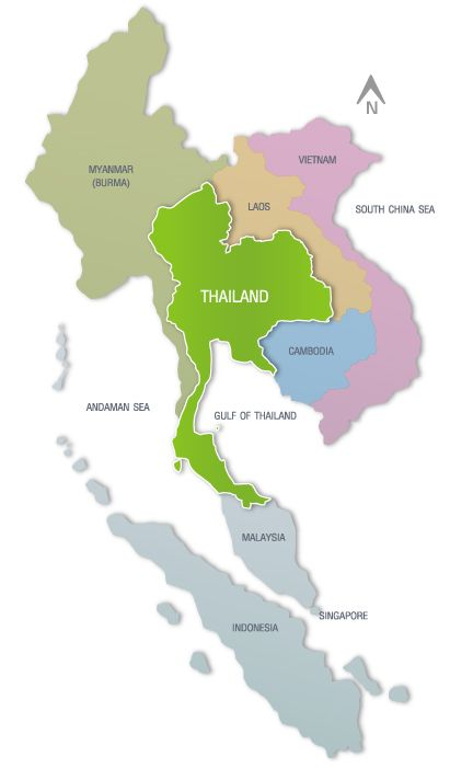 map of thailand and south east asia