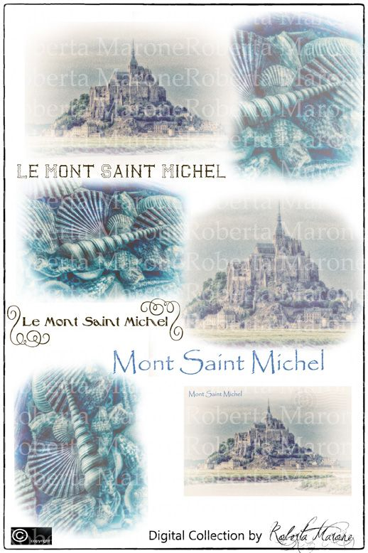 Digital vintage collection - Le Mont St Michel High def découpage and papers to download and print  -www.decouparts.it
