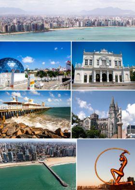 """Do topo, em sentido horário: vista aérea da cidade de Fortaleza; Teatro José de Alencar; Catedral Metropolitana de Fortaleza; estátua """"Iracema, a Guardiã""""; vista aérea da Praia de Meireles; Ponte dos Ingleses; e Centro Dragão do Mar de Arte e Cultura."""