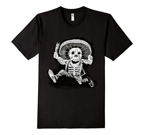 Men's Mexican Mad Mariachi Day of the Dead 2XL Black Kala…