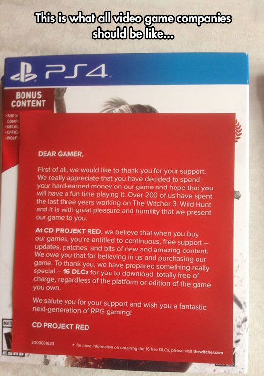 What All Video Game Companies Should Be Like