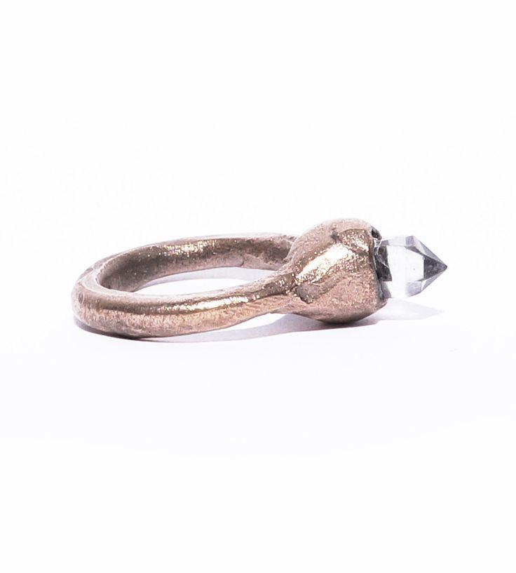 Smokey quartz crystal ring, rose bronze