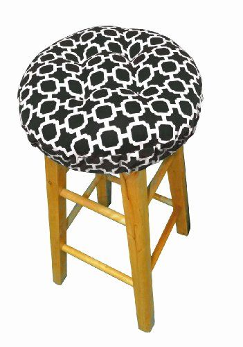 Round Indoor Outdoor Barstool Cover with Padded Cushion and Drawstring Yoke Hockley Geometric Pattern