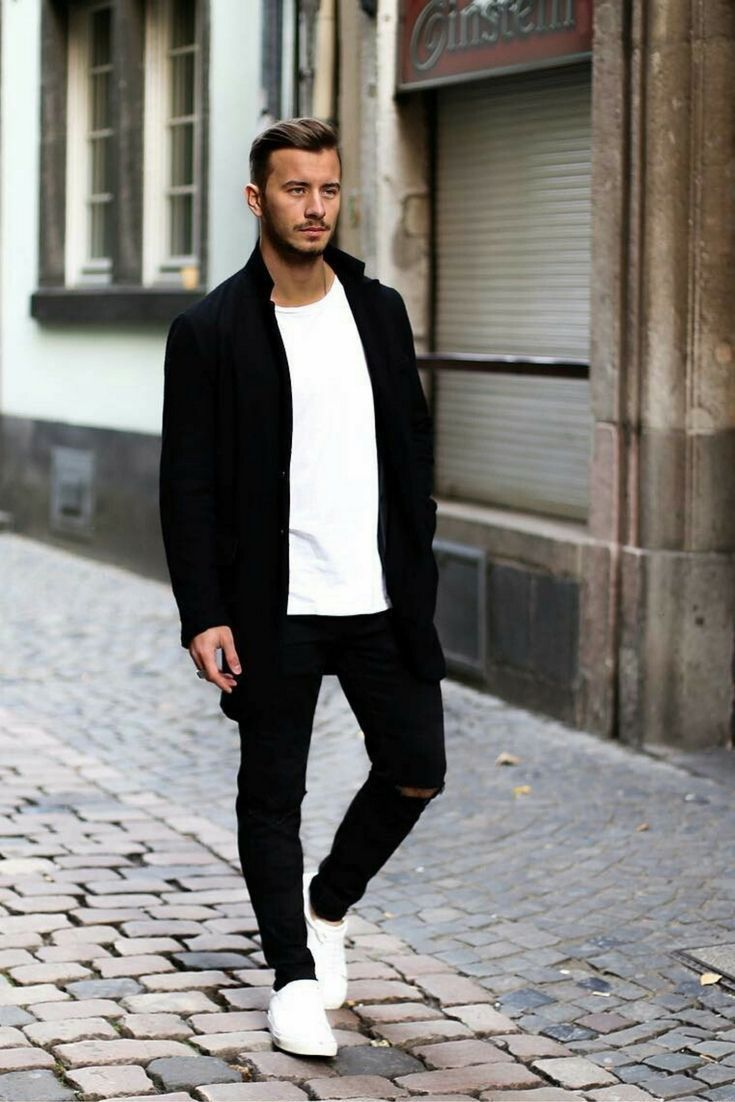 b8e82474cad Monochrome street style inspiration with a black jacket white t-shirt black  ripped denim white sneakers  streetstyle  streetwear  monochrome  minimal  ...