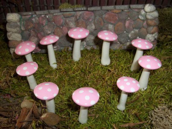 Livraison gratuite ensemble de lumière miniature rose de 10 champignons Chapelier thé Garden-Party cotillons