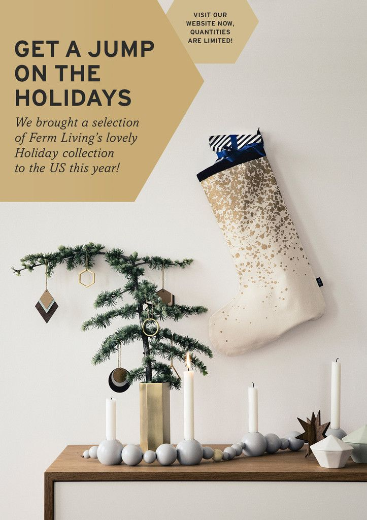 String Candle Holder Grey By Ferm Living, Hexagon Brass Vase U0026 Gold Splash  Christmas Stocking And Decorations Make The Perfect Sophisticated Modern ...