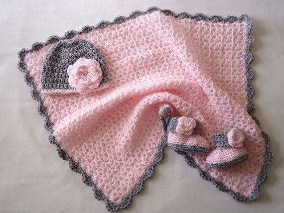 Pink and Grey Crochet Baby Girl Blanket with Matching Flower Hat and Booties
