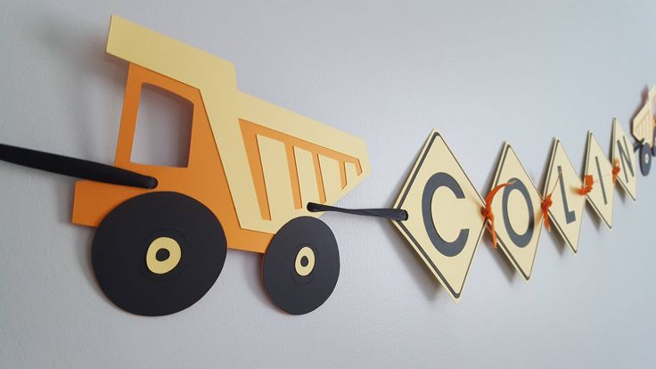construction birthday party * construction name banner * construction bedroom decorations * construction wall decorations * excavator by declanandsmith on Etsy