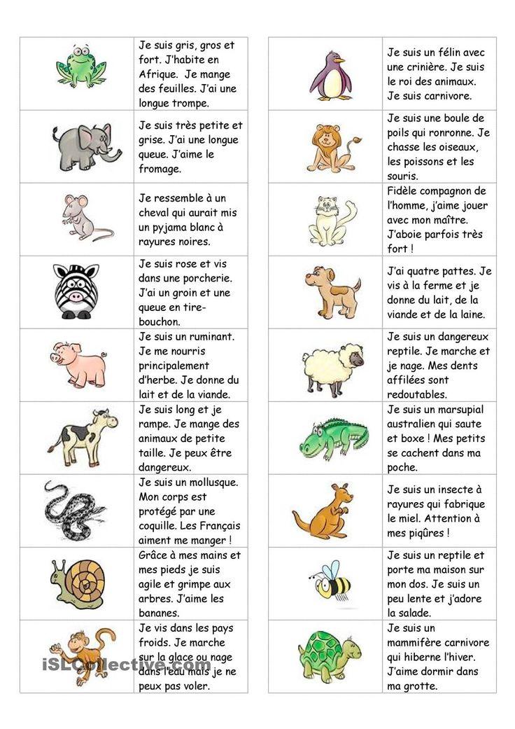 Dominos sur les animaux (avec texte) | GRATUIT FLE fiches pédagogiques