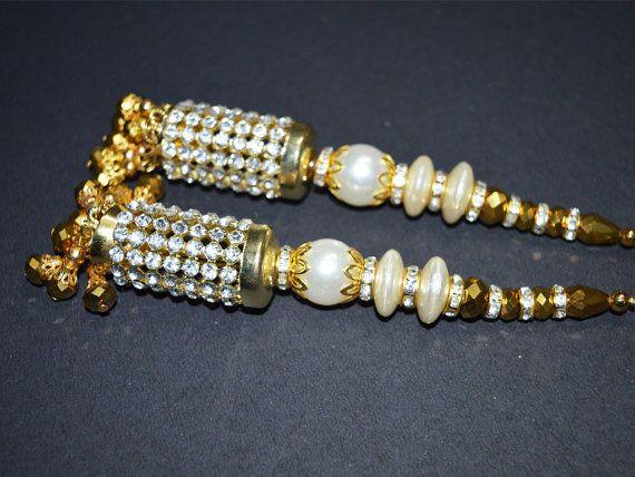 Decorative Tassels - Beaded Tassel for Wedding Lehenga Dress Blouses, Indian Embellishment,  Accessories Latkan, Dupatta Tassel