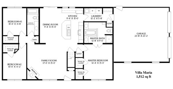 Simple open ranch floor plans style villa maria house for Simple house plans with garage