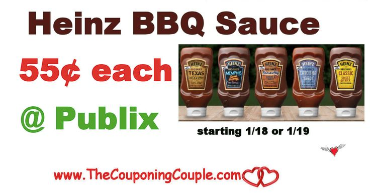 ** Heinz BBQ Sauce Only $0.55 @ Publix starting 1-18 or 1-19. This is a great price to stock up some sauce to use in your favorite recipes **  Click the link below to get all of the details ► http://www.thecouponingcouple.com/heinz-bbq-sauce-only-0-55-publix/ #Coupons #Couponing #CouponCommunity  Visit us at http://www.thecouponingcouple.com for more great posts!
