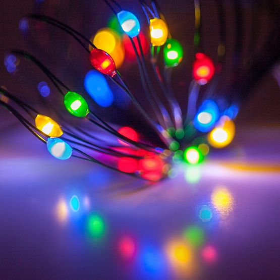 18 Multicolor Battery Operated LED Fairy Lights, Green Wire