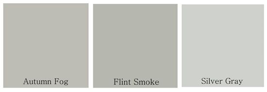 color matched it to these three close relatives: 'Autumn Fog' by Valspar; 'Flint Smoke' by Behr; and 'Silver Gray' by Benjamin Moore