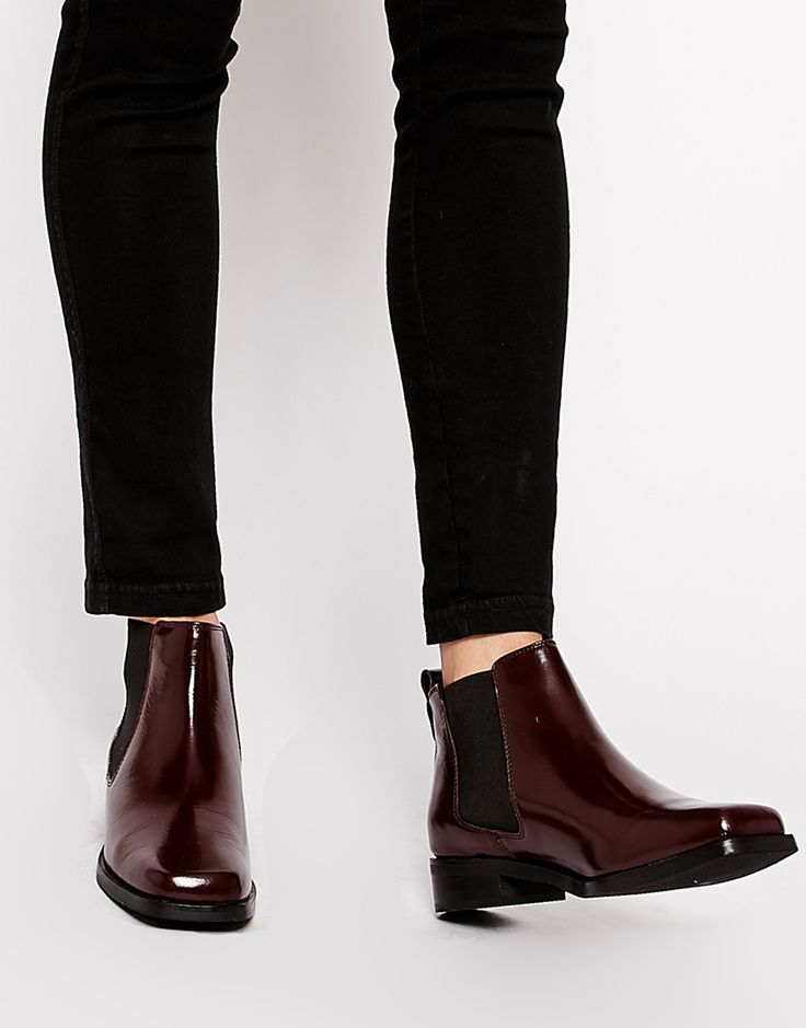 Got these. SUPER CUTE! ASOS AMSTERDAM Leather Chelsea boots in Oxblood.