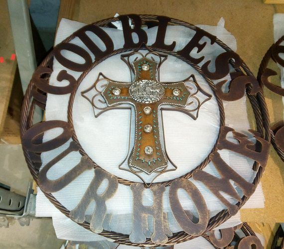24 God Bless Our Home Cross Western Metal Wall Art Home Decor