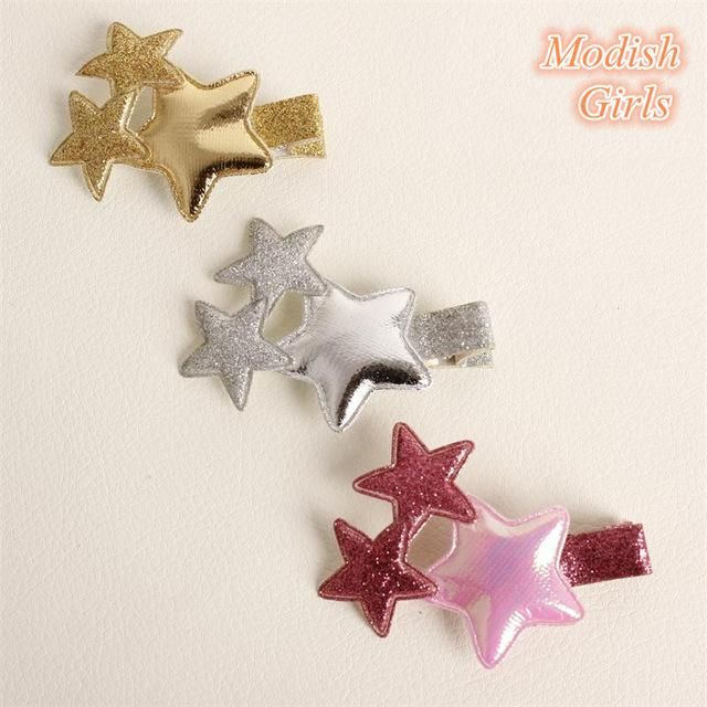 12pcs/lot Newest Free Shipping Artificial Leather Bestseller Glitter Felt Hair Clip Gold Silver Barrettes Hairpin Stars