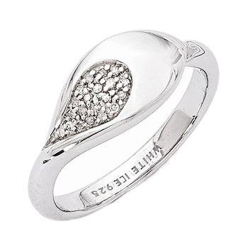 925 Sterling Silver Teardrop Diamond Ring