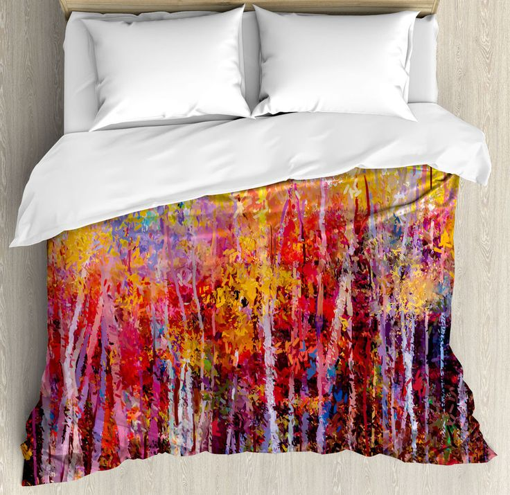 Nature King Size Duvet Cover Set Autumn Forest Painting with 2 Pillow Shams  | eBay