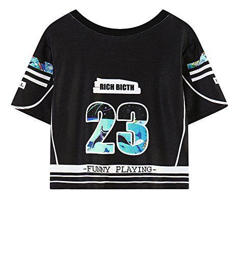 (シーファニー)Cfanny レディース 可愛い 原宿風 23 シャーク柄 半袖 ショート丈 Tシャツ ブラック…